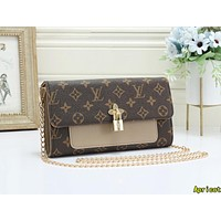Louis Vuitton LV Fashion Women Leather Metal Chain Crossbody Satchel Shoulder Bag Apricot