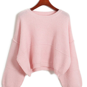 Long Sleeve Cropped Knit Sweater