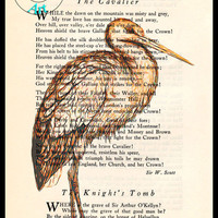 Brown Stork Drawing Beautifully Upcycled Vintage Dictionary Page Book Art Print, Bird Art Print