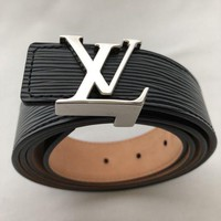 PEAPRQ5 Louis Vuitton - Black Leather Belt Logo