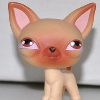 Chihuahua #1 (Tan, Brown Eyes) - Littlest Pet Shop (Retired) Collector Toy - LPS Collectible Replacement Single Figure - Loose (OOP Out of Package & Print)