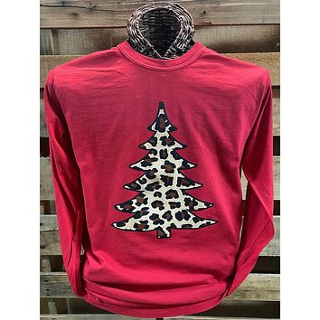 Southern Chics Leopard Christmas Tree Comfort Colors Long Sleeve T Shirt
