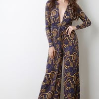 Baroque Print Plunge Neck Wide Leg Jumpsuit