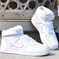 NIKE AF1 Air Force One men and women pure white high-top casual sneakers Optional luminous-2