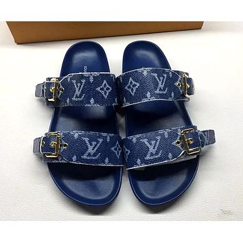 LV 2019 new female models wild fashion outdoor flat flat sandals slippers Blue