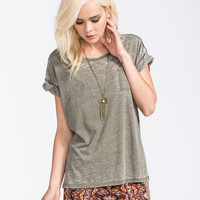 Volcom Lived In Burnout Womens Tee Olive  In Sizes