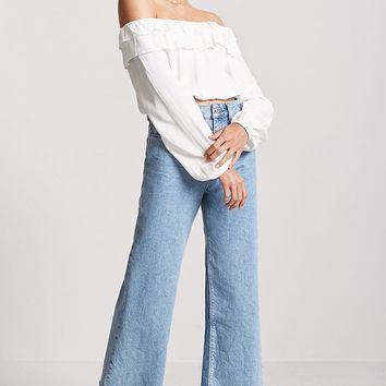 Woven Tiered Flounce Off-the-Shoulder Crop Top