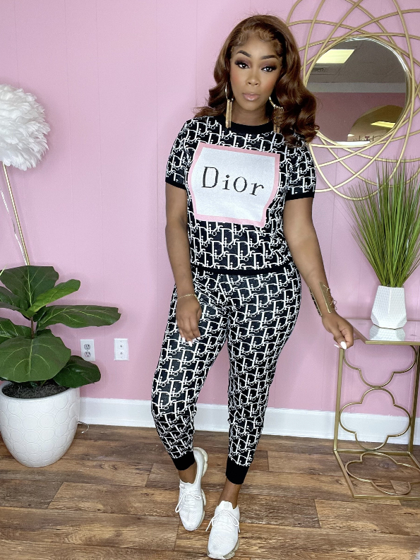 Image of DIOR Women Short sleeves Print Top Pants trousersTwo-Piece