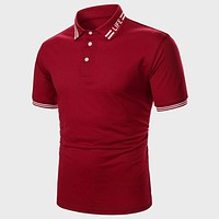 Fashion Casual Men Striped Letter Graphic Polo Shirt