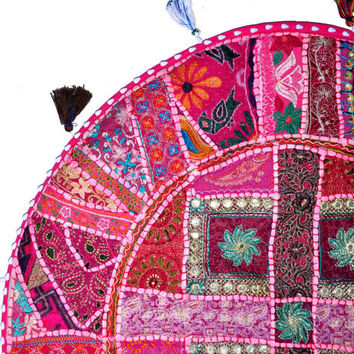 """Beautiful 22"""" Decorative Round Floor Pillow in Pink Cushion round embroidered Bohemian floor cushion pouf Vintage Indian Foot Stool Bean Bag"""
