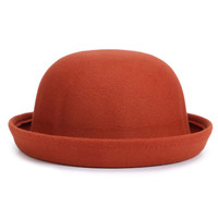 Brown Roll Up Brim Woolen Hat