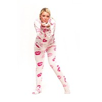 Lip printed Adult Footed Onesuits Pajamas, Footed Pjs with Kisses printed