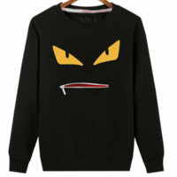 FENDI autumn new men's fashion casual plus velvet long-sleeved round neck pullover sweater black