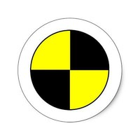 Crash Test Round Sticker from Zazzle.com