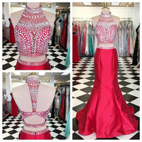Beading Red Two Piece Prom Dresses