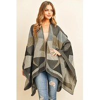 HDF3149BR - BROWN ABSTRACT PATTERN OPEN FRONT KIMONO