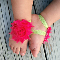 Baby Barefoot Sandals .. Hot Pink Flowers on Lace .. Toddler Sandals .. Newborn Sandals