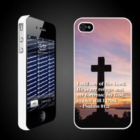 Bible Verse Psalms 91:2 Christian Themed Protective Hard Case for iPhone 4/4S - White