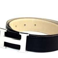 Authentic HERMES H Buckle Black Leather Belt Small Size 65 Made France