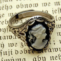 Cameo Ring - Black and White Lady in Silver - $17.50 : RagTraderVintage.com, Handmade Indie Retro Accessories