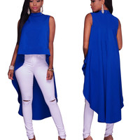 Blue Sleeveless Loose High Low Top
