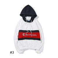 Champion contrast stitching embroidery cursive letter hooded sweater F-CP-ZDL-YXC #3
