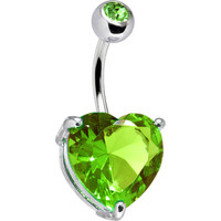 August 14mm Heart Solitaire Birthstone Belly Ring | Body Candy Body Jewelry