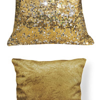 Ga002a Gold Silver 6mm Sequins w/ Velvet Cushion Cover/Pillow Case*Custom Size*