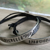 Couples Bracelets With Names - Silver - Couples Bracelet - Personalized