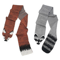 """RECYCLED COTTON ANIMAL """"STOLES""""- RACCOON AND FOX 