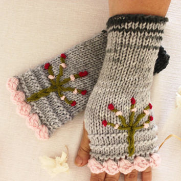 Hand knitted fingerless gloves, Gray pink knit gloves,Tree of Life, Arm warmers, Women's accessories, Gray Knitted gloves, Christmas gift