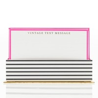 Vintage Text Message Flat Notes in Pink with Envelopes | Includes 50 Cards with Envelopes in a Decorative Standup Box