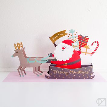 Merry Christmas Pop-Up Santa's Sleigh Greeting Card