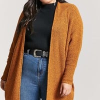Plus Size Draped Open-Front Cardigan