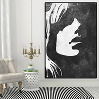 girl silhouette Abtract painting large, extra large wall art, large wall art canvas, black and white wall art, abstract acrylic painting