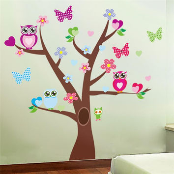 cute owls tree wall stickers for kids room decorations nursery cartoon children girls decals 1006. animals mural art flowers 4.0