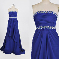 Long Royal Blue Crystals Chiffon Prom Dress Fashion Handmade Evening Gown Formal Wedding Party Dress Party Dress Formal Evening Dress