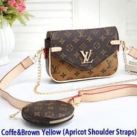 Inseva Louis Vuitton LV Monogram Coffee Brown Two Piece Suit With Small Round Bag Key Bag Crossbody Bag