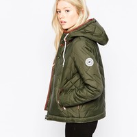 Bellfield Hooded Padded Jacket With Printed Lining