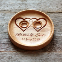 Handmade Custom Wood Wedding Ring Holder (Two Hearts), Ring Bearer Pillow Alternative, Ring Plate, Ring Dish