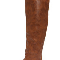 Bamboo Montage 80X Chestnut Over the Knee Flat Boots