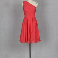 One Shoulder Short Coral Bridesmaid Dress 2013