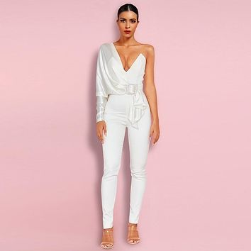 White One Sleeve Jumpsuit