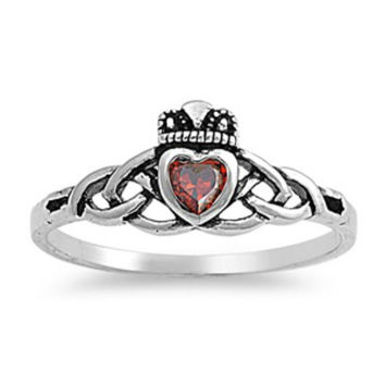 Sterling Silver Ruby Red Celtic Promise Claddagh Ring CZ size 5-9