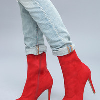 Bambi Red Suede Mid-Calf Boots
