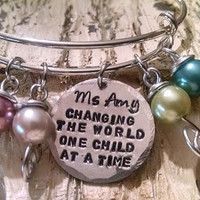 Gift for Teacher Personalized Bangle Bracelet Gift Daycare Childcare Babysitter Foster Mom Parent Social Worker Child Advocate
