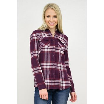Hooded Flannel Plaid Top