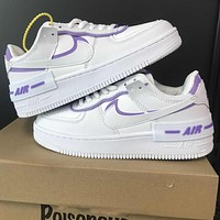 "Nike Air Force 1 Shadow ""White/Purple"" low-top flat sneakers shoes"