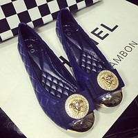 Versace Slip-On Women Fashion Leather Flats Shoes
