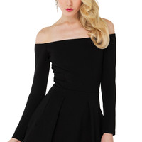 Casual Off Shoulder Long Sleeve Black Mini Skater